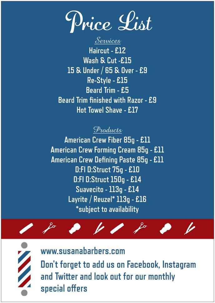 Price List Hairdressing For Men